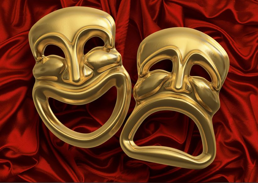 7059792 - classic comedy-tragedy theater masks against red curtain fabric